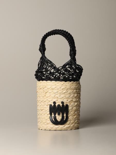 Miu Miu bucket bag in raffia and leather