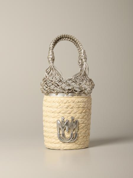 Miu Miu bucket bag in raffia and leather