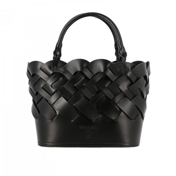 Prada shopping bag in woven leather