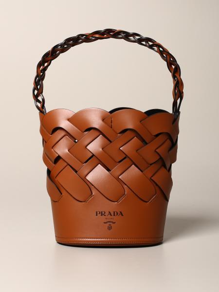 Сумка через плечо из плетеной кожи Женское Prada
