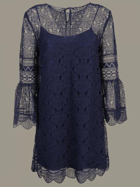 Alberta Ferretti macramé dress with tulip sleeves