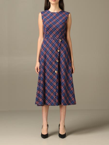 Boutique Moschino 格纹bouclé羊毛混纺中长款连衣裙
