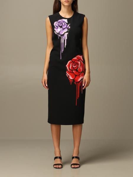 Boutique Moschino 玫瑰印花直筒连衣裙