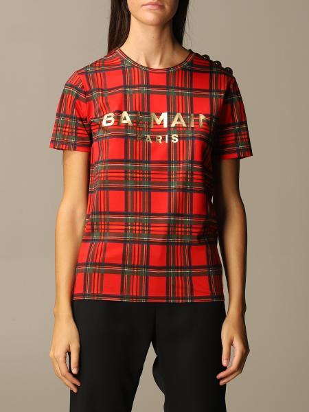 Balmain: Balmain tartan T-shirt with logo and buttons
