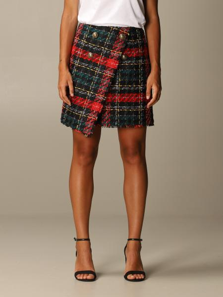 Mini asimmetrica tweed tartan con bottoni