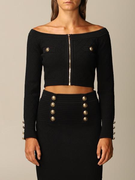 Balmain top in diamond-patterned viscose with zip