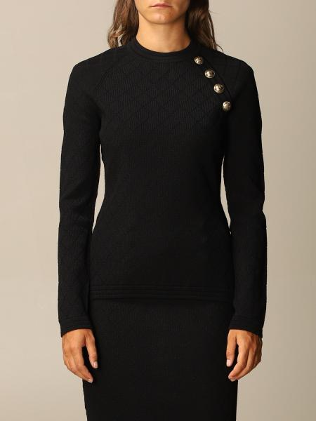 Balmain top in diamond-patterned viscose with buttons