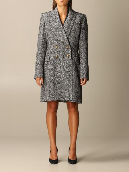 Double-breasted Balmain coat in chevron wool blend