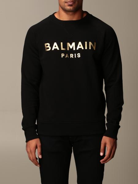 Balmain cotton sweatshirt with laminated logo