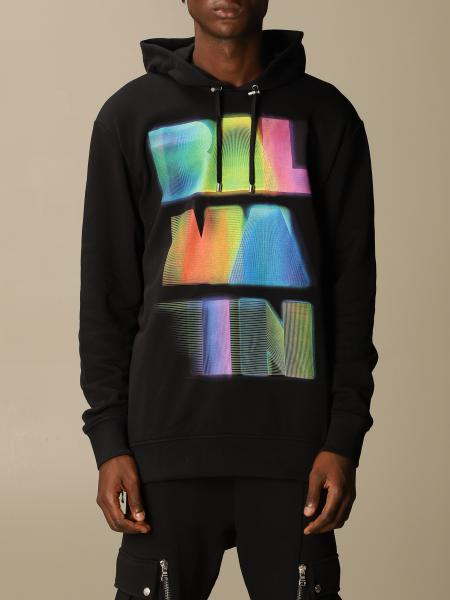 Balmain sweatshirt in cotton with hood and neon print