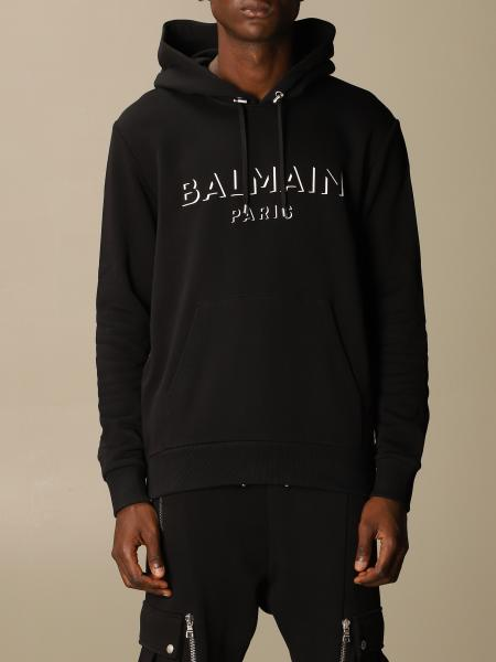 Balmain cotton sweatshirt with hood and logo