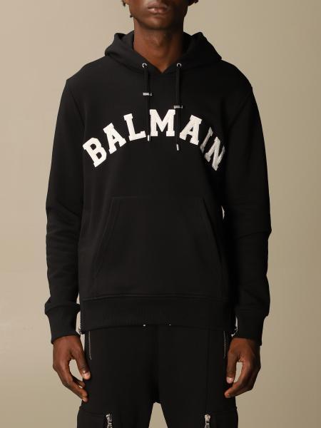 Balmain cotton sweatshirt with hood and logo