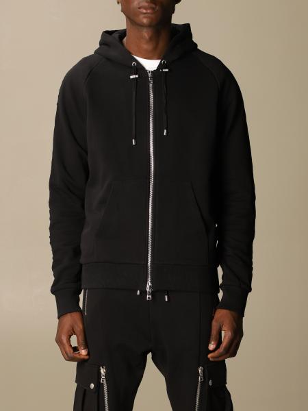 Balmain cotton sweatshirt with hood and embossed logo