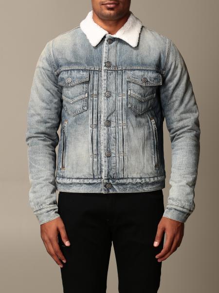 Balmain denim jacket with fur collar