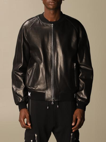 Balmain leather bomber jacket with logo band