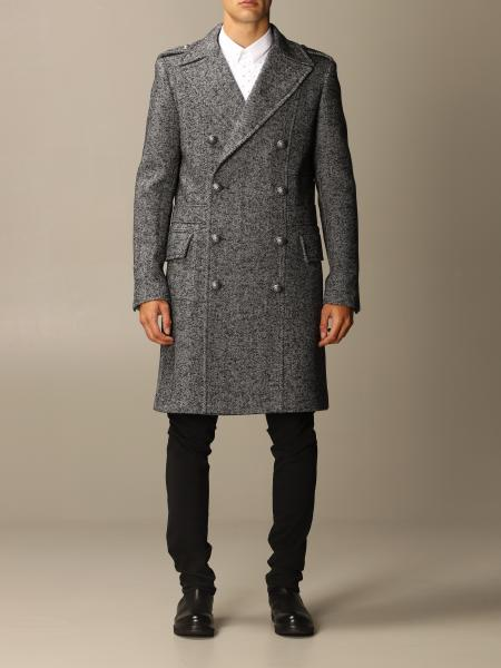 Balmain double-breasted coat in houndstooth wool blend