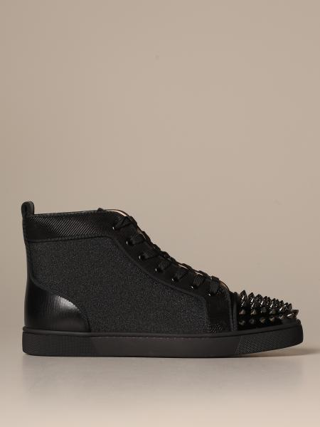 Sneakers Lou spikes Christian Lauboutin in tela glitter con borchie