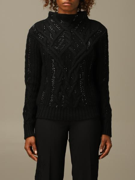Ermanno Scervino pullover in wool and cashmere blend with rhinestones