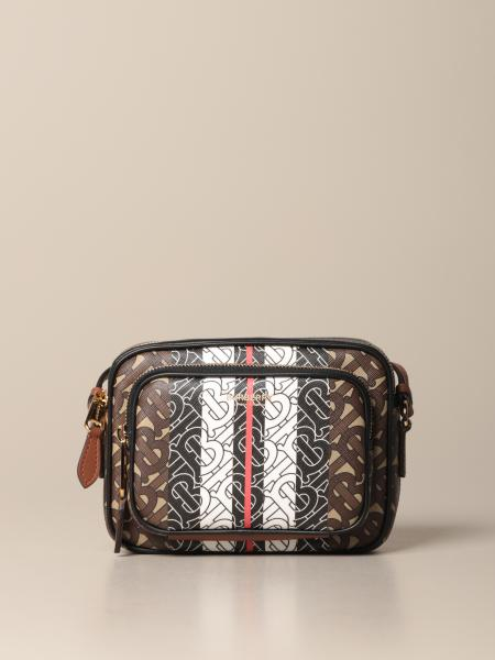 Borsa a tracolla Burberry in pelle e tessuto TB all over
