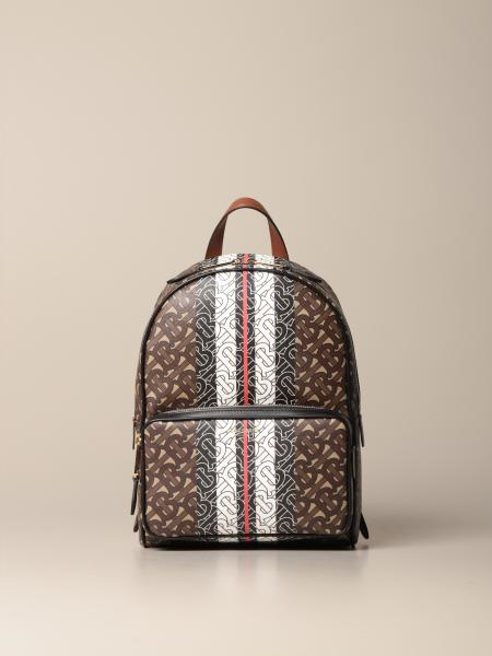 Burberry backpack in leather and all-over TB fabric