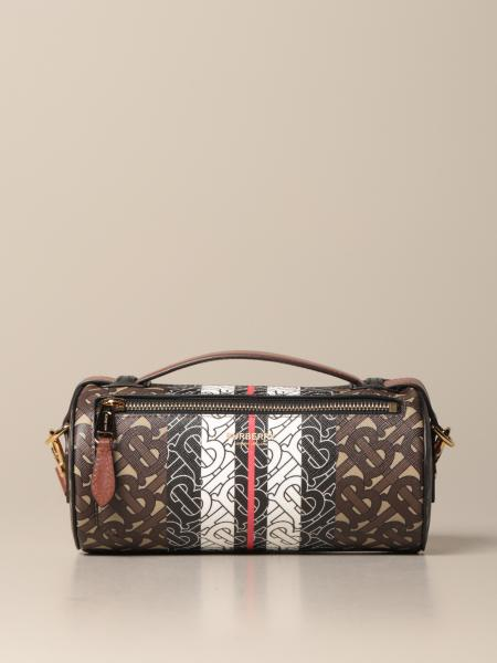 Borsa cilindrica Burberry in pelle e tessuto TB all over