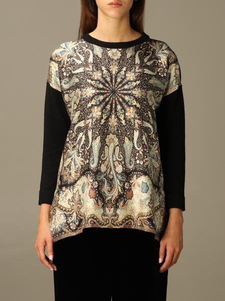 Etro women: Etro sweater in printed wool and silk blend