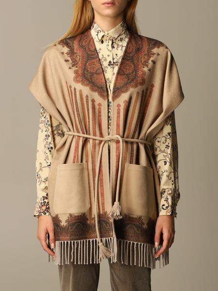 Etro women: Etro poncho in wool and cashmere cloth