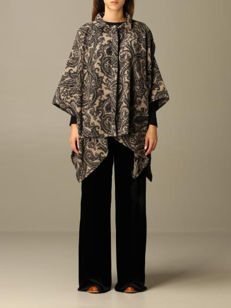 Etro poncho in woolen cloth and paisley silk