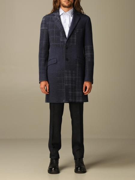 Etro coat in patchwork check wool