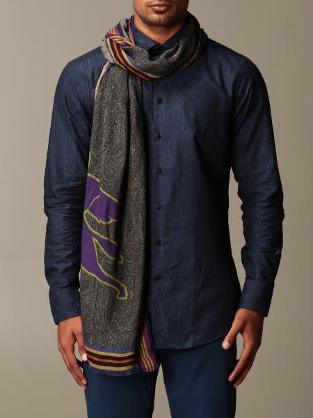 Etro modal and cashmere scarf with Pegaso logo
