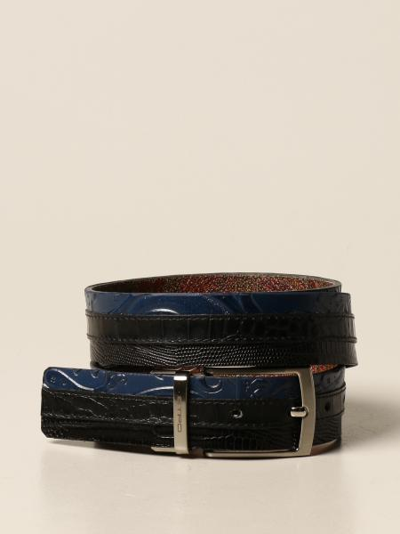 Cintura reversibile Etro in tessuto paisley jacquard e pelle