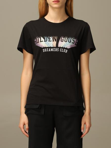 Golden Goose cotton T-shirt with multicolor glitter logo