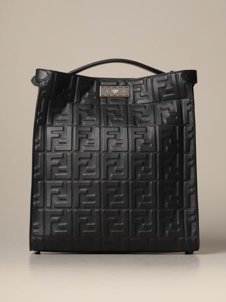 Peekaboo Fendi tote bag in leather with embossed FF logo
