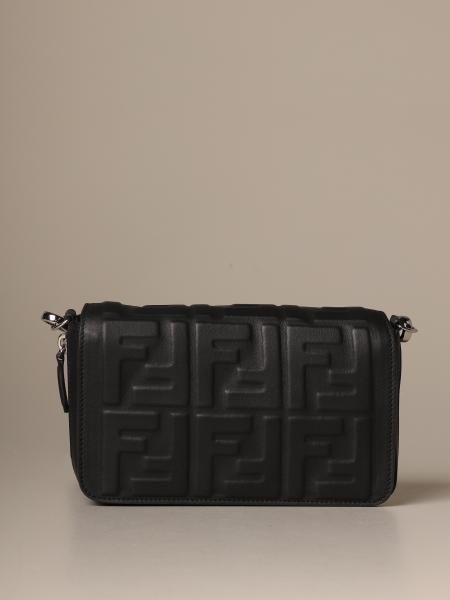 Fendi mini flap bag in nappa leather with embossed FF monogram
