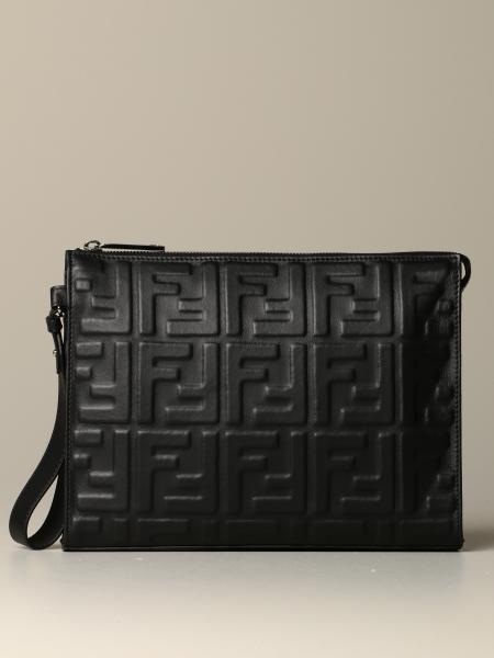 Fendi clutch bag in nappa leather with embossed FF logo