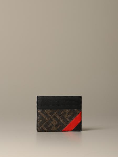 Fendi credit card holder in leather with FF logo