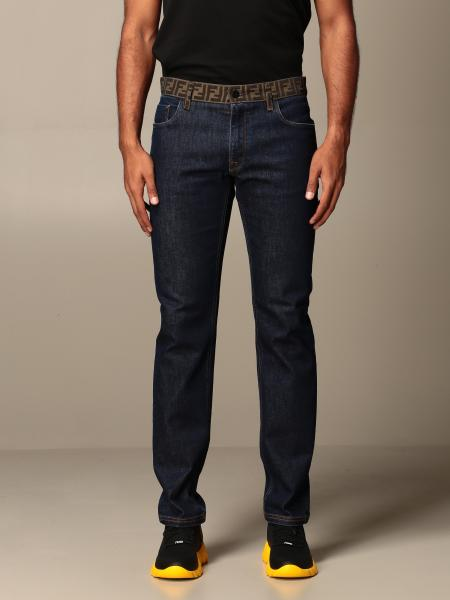 Jeans Fendi in denim con monogramma FF