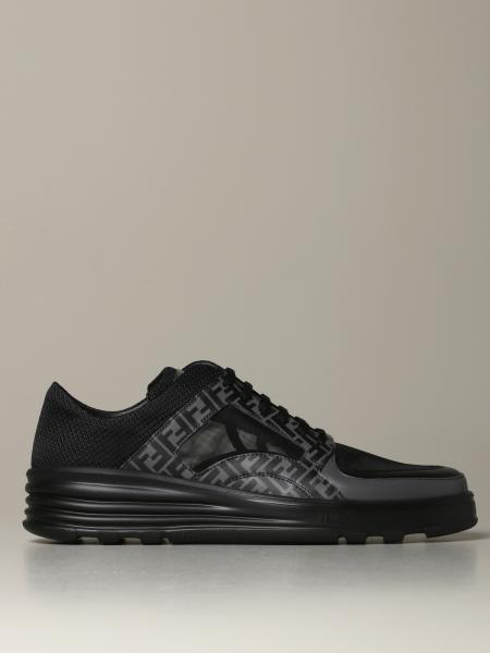 Low top Fendi sneakers in FF leather and mesh