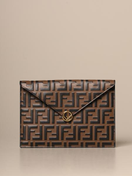 Fendi leather clutch bag with embossed FF logo