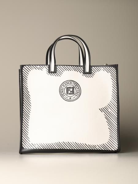 Fendi shopping bag in vitrified canvas with logo print