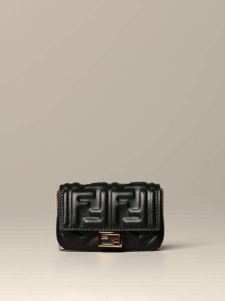 Fendi nano Baguette bag in leather with embossed FF logo