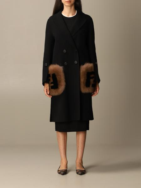 Fendi coat with fur pockets and FF logo