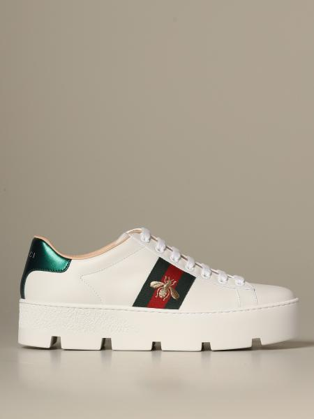 Sneakers New Ace Gucci in pelle con suola platform