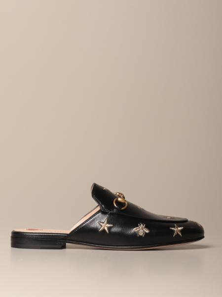 Gucci Princetown slipper in leather with embroidery and horsebit