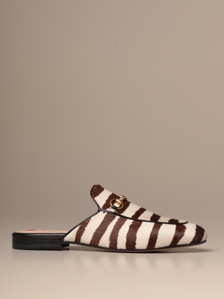 Princetown Gucci slipper in zebra-print ponyskin with horsebit