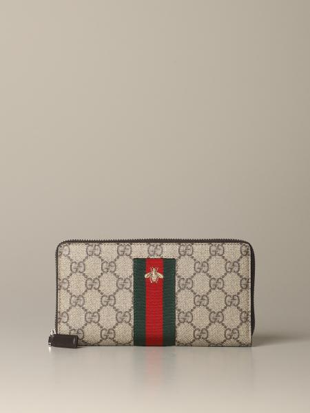 Gucci New Web zip wallet with bee embroidery