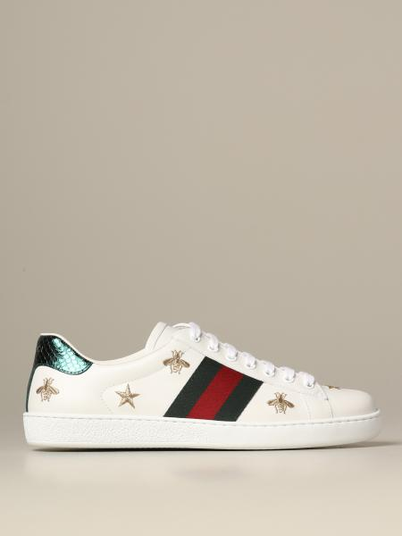 Baskets sneakers Ace Gucci en cuir avec bandes Web et broderies lurex