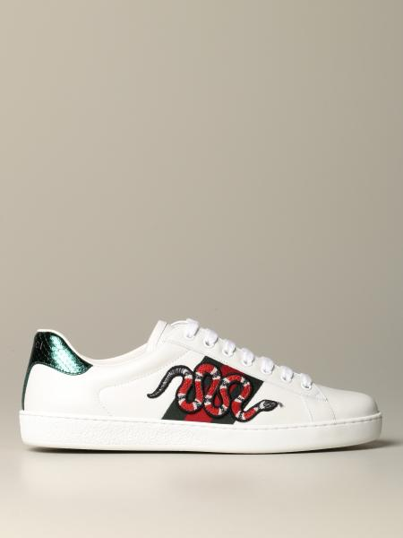 Sneakers Ace Gucci in pelle con fasce Web e patch serpente