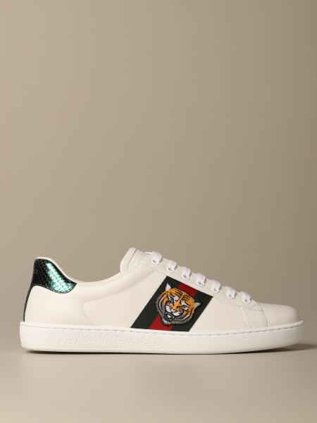 Sneakers Ace Gucci in pelle con fasce Web e patch tigre