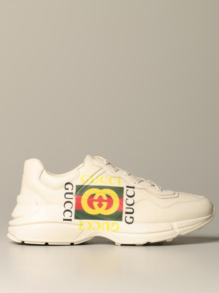 Rhyton Gucci leather sneakers with vintage logo